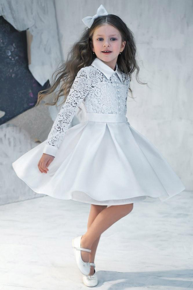 2015 Pretty Flower Girl Dresses Gowns Lace Long Sleeves Short Knee
