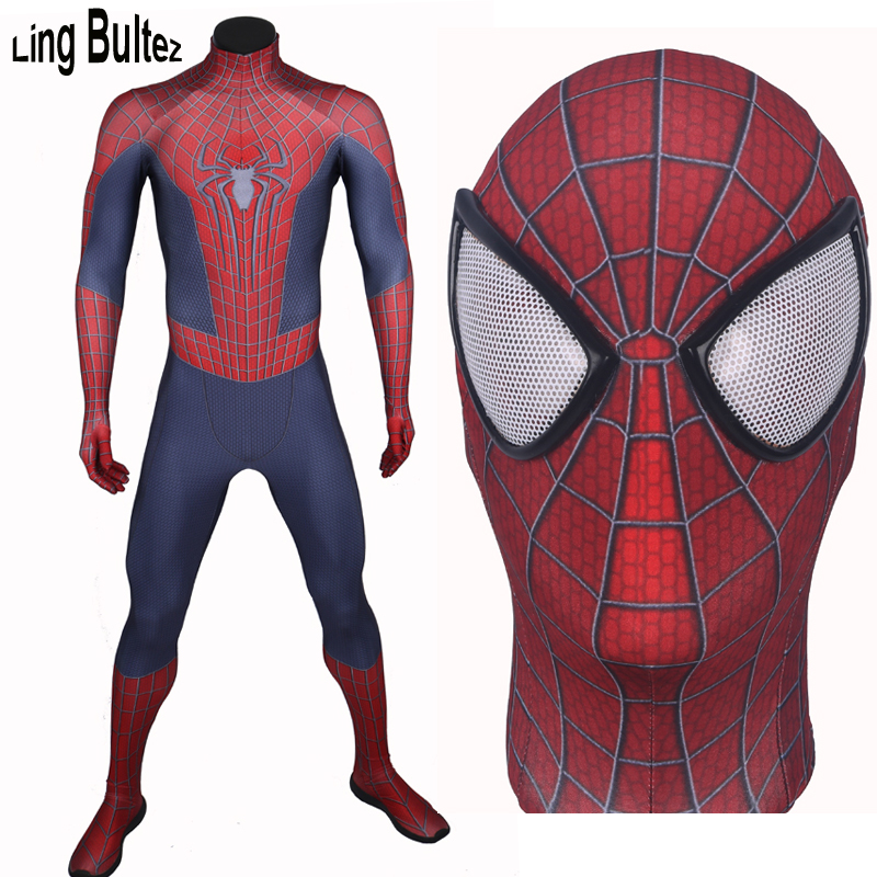 Ling Bultez High Quality Custom Made Amazing Spiderman Spandex Suit Adult Hero Spiderman Costume For Halloween Party