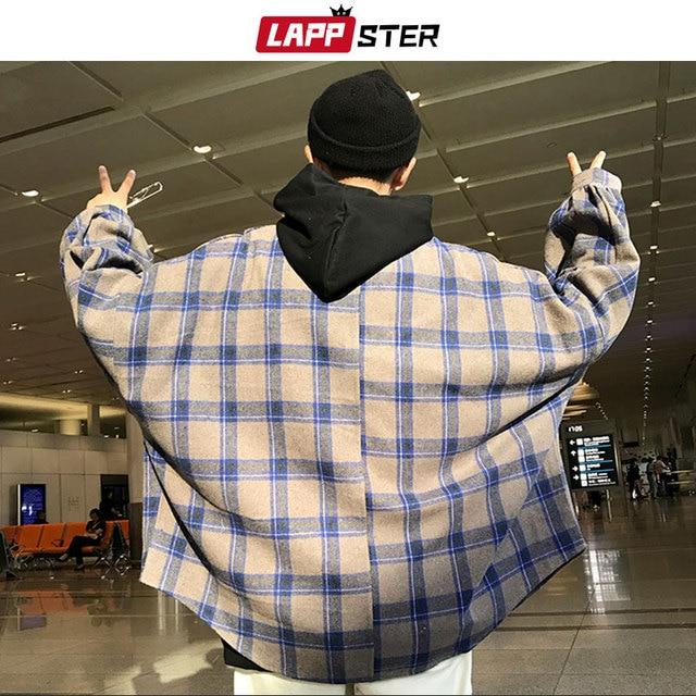 LAPPSTER Men Harajuku Color Block Plaid Shirt 2020 Mens Streetwear Thick Shirts Long Sleeve Male Vintage Korean Fashions Clothes 4