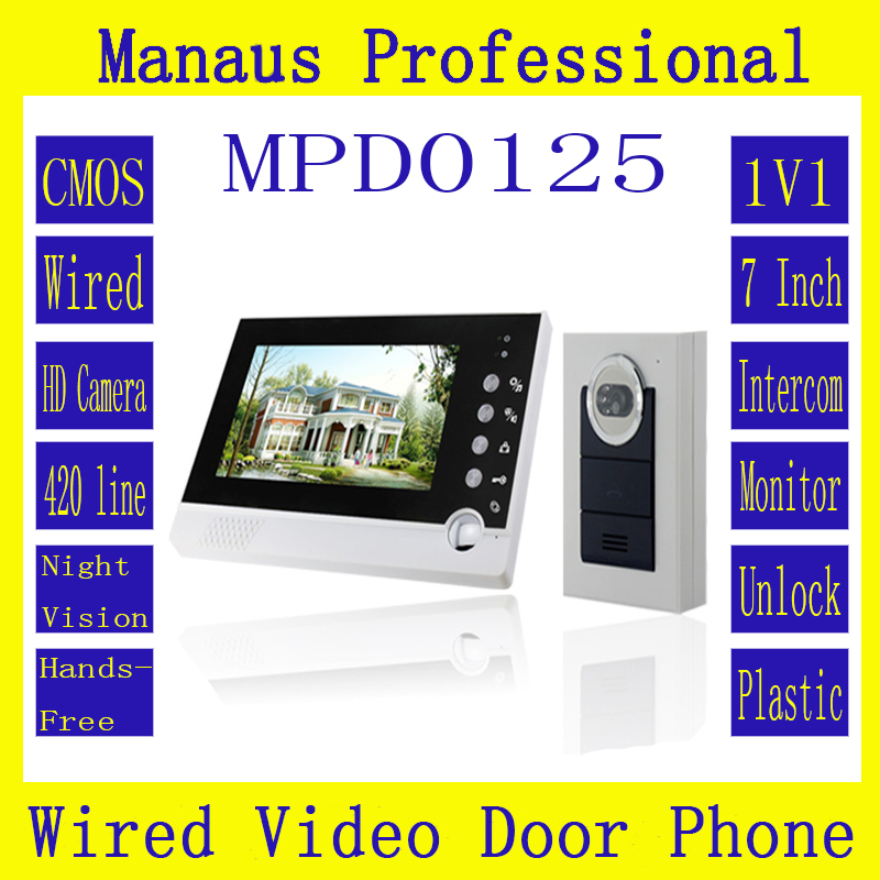 Professional intelligent Home Furnishing 7 inch color display One to one wired intercom video intercom doorbell camera D125C highquality 6 ir lamps wired intercom one to one video doorbell 7 inch display video door phone support microphone&speaker d126b