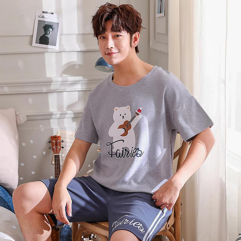 MISSKY 2pcs/set Summer Men Women Pajama Sets Lovers Casual Loose Soft Summer Short Sleeved Home Wear Male Sleepwear