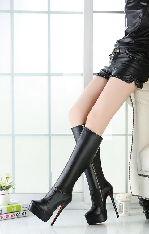 Women Leather Zip High Waterproof Thin Heels Short Plush Thick Warm Long Boots Fashion Big Size 48 Lady Knee High Boots 20170225 купить