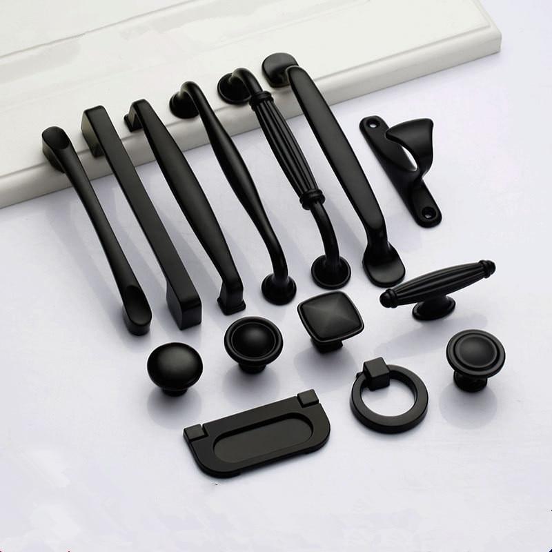 Black Handles Knobs Furniture Cabinet Pulls for Drawer Cupboard