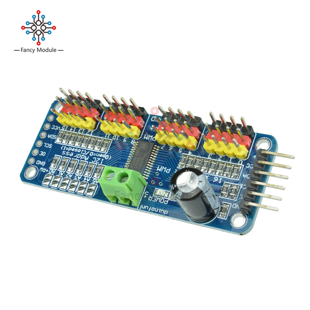 I2C 16 Channel Servo Driver Module PCA9685 For Arduino Raspberry Pi 12 bits  PWM Robot Servo Shield 5 10V DC-in Instrument Parts & Accessories from