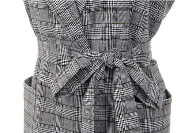 2018 New Fashion Elegant Gray Plaid Office Lady Blazer 4