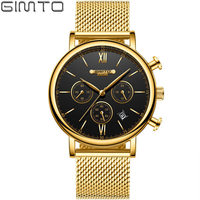 New Style Gold Men Watch Luxury Brand Stainless Steel Calendar Business Quartz Wristwatch Male Casual Clock