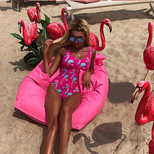 One Piece Red Halter Backless Push Up Flamingo Print Bathing Suit