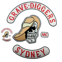 7pcs/ Set GRAVE DIGGERS MC Club Biker Patches Vest Embroidered Sticker Iron On Full Back Jacket Motorcycle Skull Patch Clothing
