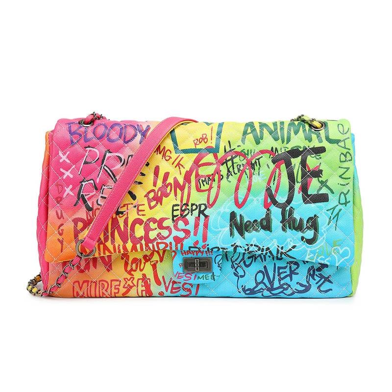 Sac a Main Nuovo Arcobaleno Crossbody Borsa Donna per il 2019 di lusso borse Donna Borse del progettista Graffiti Satchel bolsa feminina-in Borse a tracolla da Valigie e borse su AliExpress - 11.11_Doppio 11Giorno dei single 1