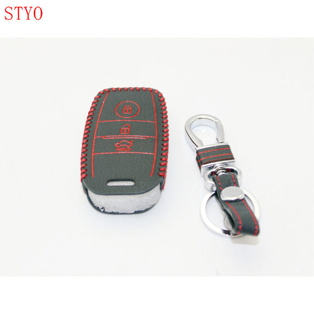 Styo Car Smart Key Wallet Genuine Leather Cover Cases For 2016 Kia Optima K5 Sportage
