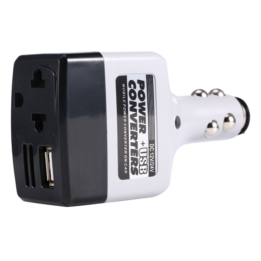 Car Charger Power Mobile Converter Inverter Adapter DC 12V/24V to AC 480V Charger Power + USB Vehicle Converters