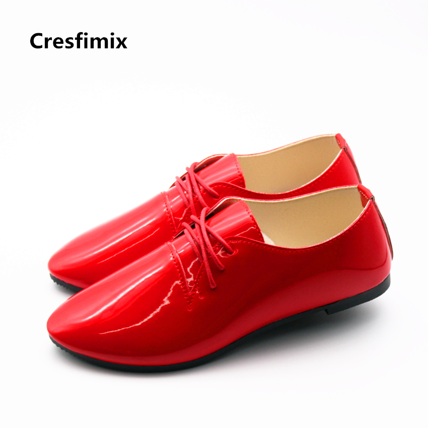 Cresfimix sapatos femininos women casual point toe red flat shoes female cute spring & summer pu leather shoes lady cool shoes cresfimix women cute spring