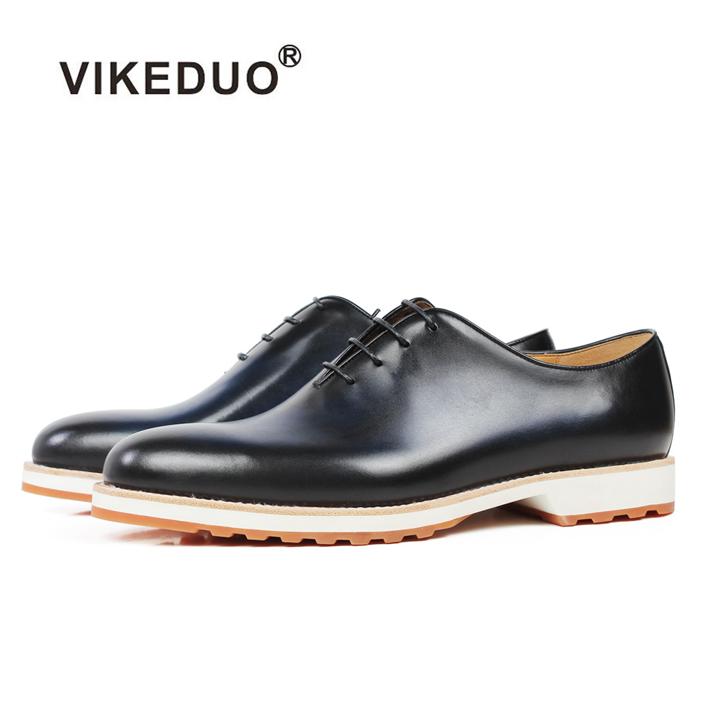 Vikeduo 2019 Handmade Retro Shoes Party Wedding Male Blue Calf Genuine Leather New Italy Design Men