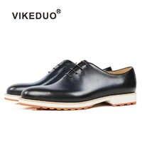 Vikeduo 2019 ハンドメイドレトロ靴パーティー結婚式の男性ブルーふくらはぎ本物のイタリアデザイン男性の革の Sapatos ドレス靴