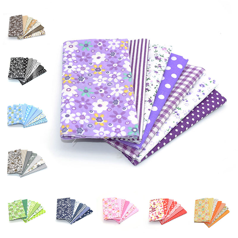 7Pcs Multi Style 25cmx25cm Cotton Fabric Printed Cloth Sewing Quilting Fabrics for Patchwork Needlework DIY Handmade Material craft