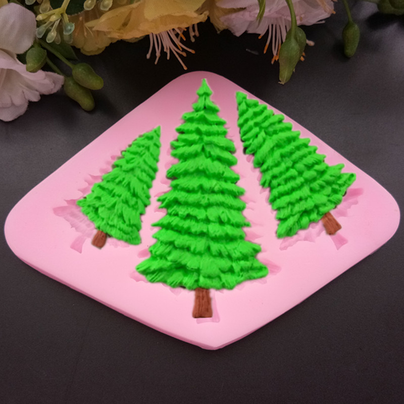 Us 1 57 3 Hole Christmas Tree Shaped Silicone Mold Cake Decoration Fondant Cookies Tools 3d Silicone Mould Gumpaste Candy In Cake Molds From Home