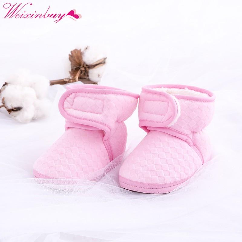 2017 m. Naujagimio žiemos šiltieji vilnoniai batai Naujagimių kūdikių kūdikių batai Soft Bottom Anti-skid pirmieji vaikščiojimo batai