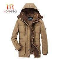 HORMETCI 2019 Parkas Men Winter Thick Warm Jackets Military Long Parka Coats Man Hooded Detachable Hat Wool Liner