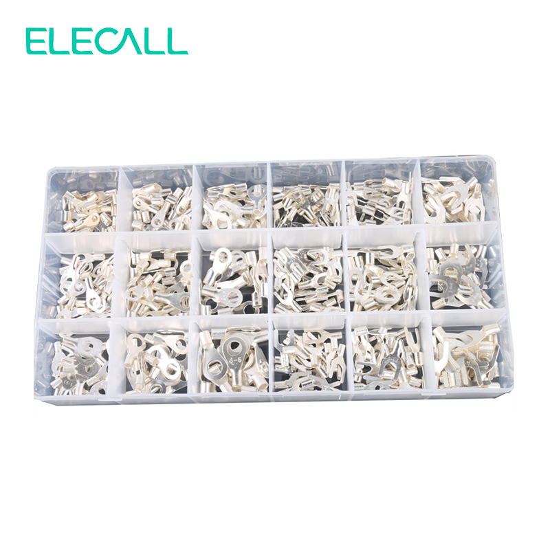 420Pcs/Box 18 In 1 Terminals Non-Insulated Ring Fork U-type Brass Terminals Assortment Kit Cable Wire Connector Crimp Spade Set 1000pcs red insulated furcate fork terminals cable lug awg16 14 sv1 25 4