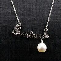 JHSL Brand Fine Jewelry Cute Women Real 925 Sterling Silver Round Freshwater Pearl Necklace Pendant Girlfriend Gift