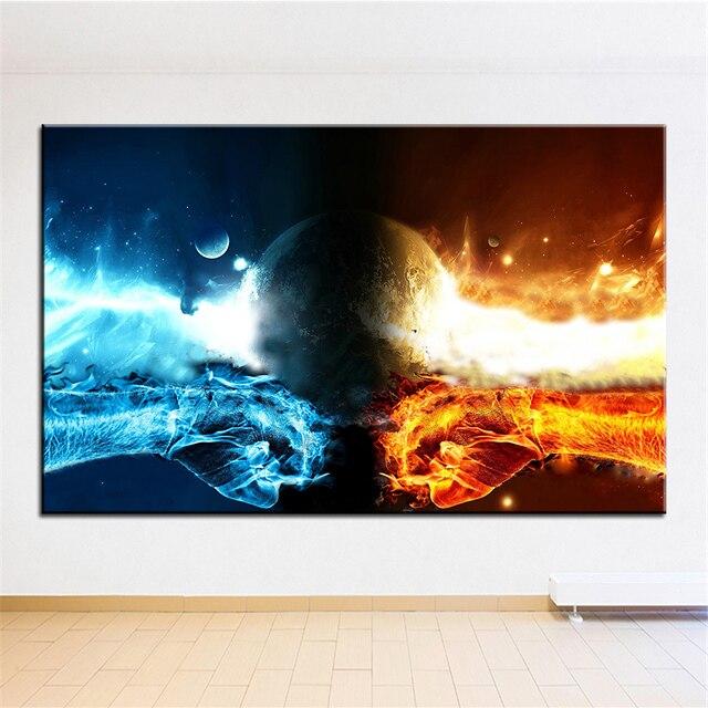Impresión de gran tamaño pintura al óleo fuego vs agua pintura de ...