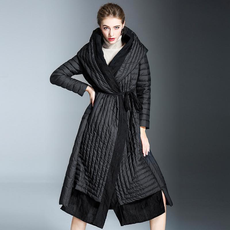 Shuchan D'hiver Vers Le Bas Manteau Femelle Manteau 2018 Avec Capuche Femme Patchwork Long 90% Duvet de Canard Blanc de Haute Qualité Créateur De Mode