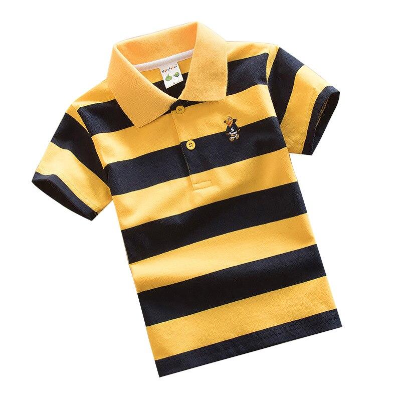 2018 niños de rayas verano Polo camisas de algodón de manga corta Turn-down Collar abotonado Camisetas de deporte niños de la escuela