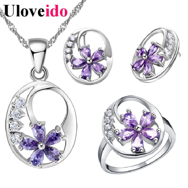Uloveido Silver Color Jewelry Set Sparkling Element Purple Flower Necklace Earrings Rings Wedding Accessories for Girl T270
