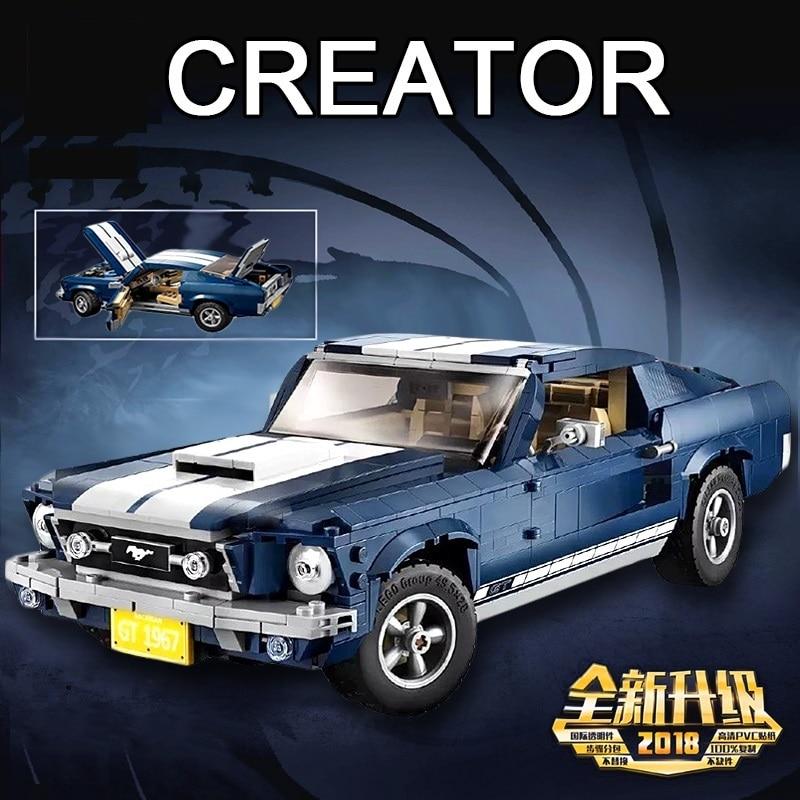 Oyuncaklar ve Hobi Ürünleri'ten Bloklar'de Yeni yaratıcı şehir serisi Ford Mustang modeli yapı taşları uyumlu Legoinglys 10265 klasik teknik araba styling oyuncakları'da  Grup 1