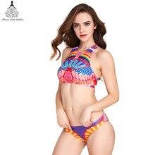 bikini swimwear Sexy Swimsuit Female bathing suit  high neck bikini set women swimsuit Ladies Print brazilian Swimsuit 2017