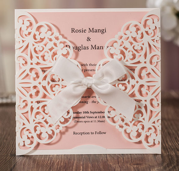 50pcs wishmade cw6177 white lace flower square wedding invitation
