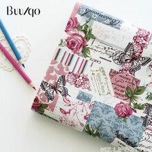 Buulqo estampado flor y mariposa algodón y tela de lino por metro Retro Vintage manualidades de costura tela de algodón 100*155cm