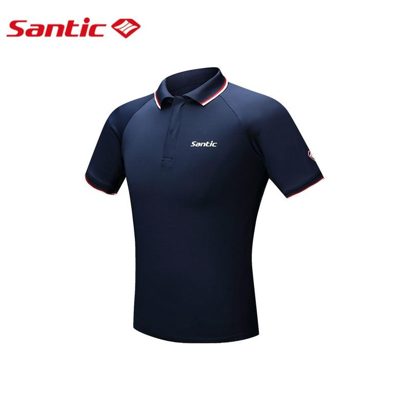 df6843685e3d6 Santic hombres verano cylicng Camisas secado rápido transpirable negro  Ciclismo Jersey solapas manga corta fitness Ropa de deporte m6c02084