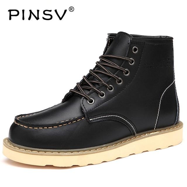 PINSV 2018 Kış Erkek Botları Hakiki Deri Erkek yarım çizmeler Büyük Boy Sıcak Erkekler Kış Çizmeler botas de hombre