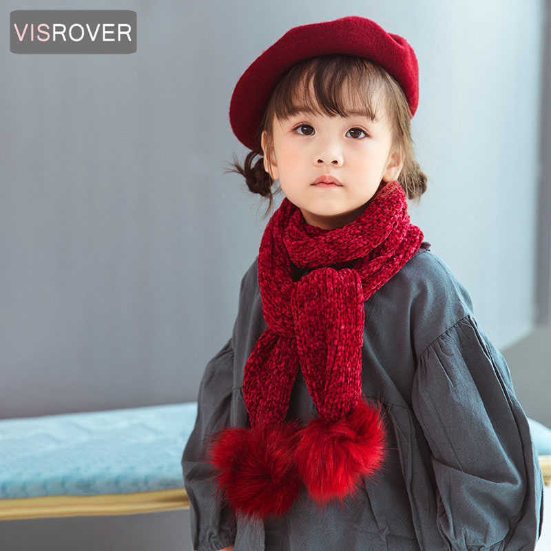 Lovely Kids Soft Winter Scarf Pompom Baby Scarf Boys Girls Warm Neck Scarves Knitting With Fur Ball Neckerchief Foulard Moderate Price Girl's Scarves Apparel Accessories