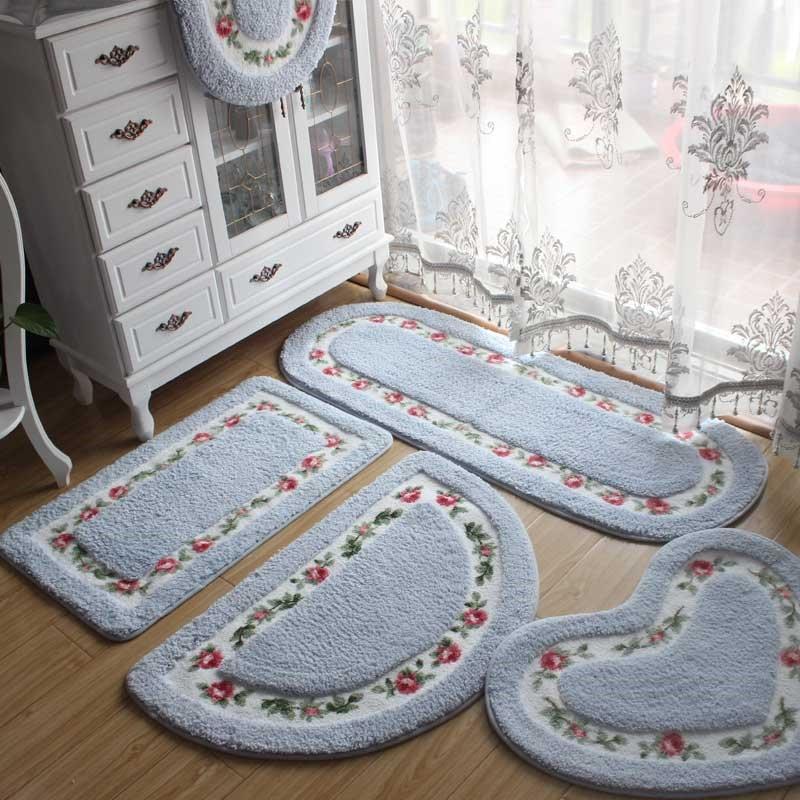 4pcs Various Shapes of Bath Mat Set Anti slip Door Mat Flower Print Floor Carpet for