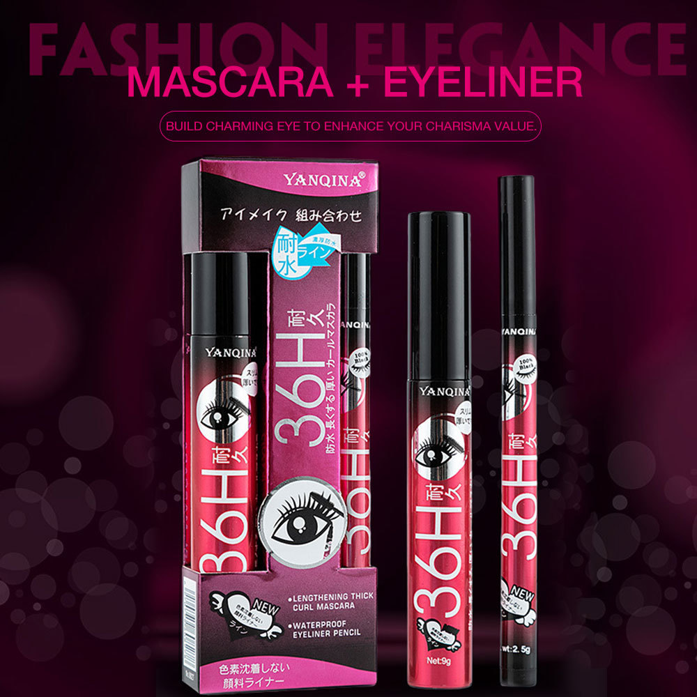 YANQINA Liquid Eyeliner Pencil Waterproof Mascara Set Cosmetics New Brand Eye Liner Thick Curling Mascara Eyebrow