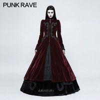 PUNK RAVE Women Gothic Palace Swallow Tail Long Dress Steampunk Retro Evening Party Dresses Women Stage Performance Costume