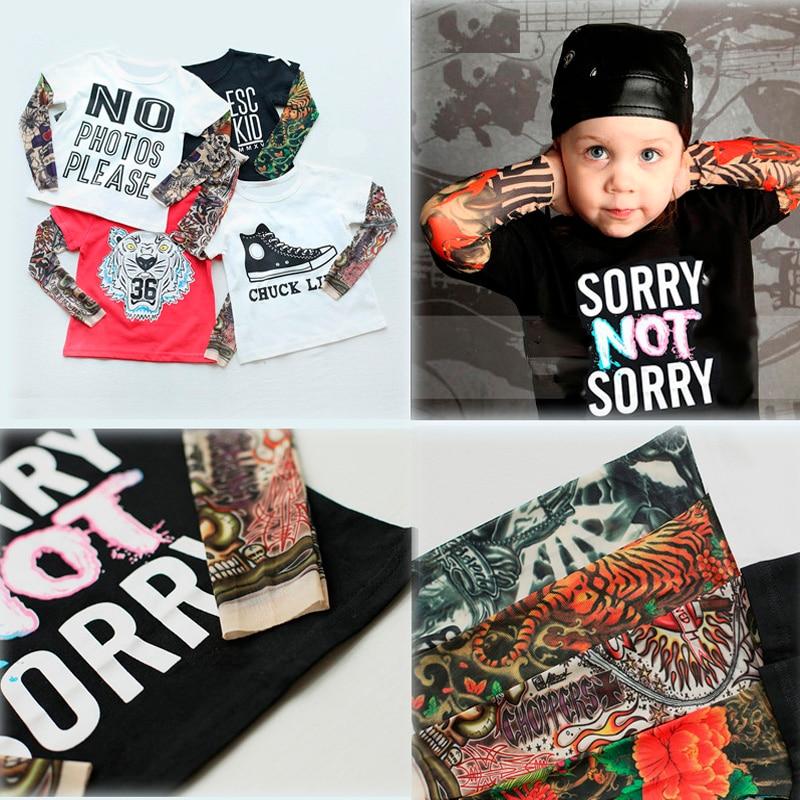 2018 lente jongen kleding katoenen t-shirt lange mouw kinderen tattoo tees baby meisjes jongens sweater SORRY NIET SORRY / HIPSTER afdrukken