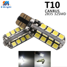 50pcs/Lot t10 led canbus T10 32 2835 smd LED No OBC Error 194 168 W5W Interior Instrument Light bulb lamp White