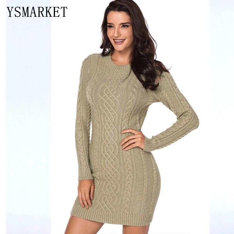 Noir kaki armée vert robe à manches longues Mini Slouchy câble femmes pull robes pour hiver automne Slim Fit AL27865