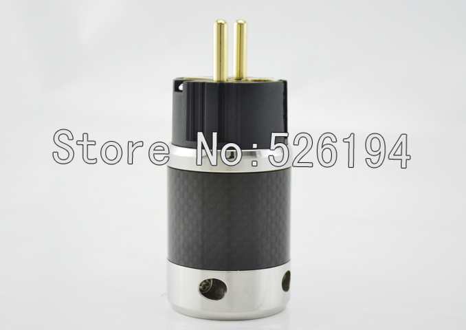 One pieces Gold plated Carbon fiber EU Male AC Power Plug FI-50M As Furutech Design free shipping one pieces sonar quest carbon fiber silver plated eu power plug
