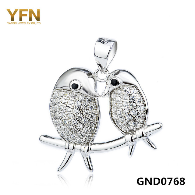 GND0768 Genuine 925 Sterling Silver Jewelry Floating Locket For Women Fashion CZ Crystal Birds Charms Pendant For Jewelry Making