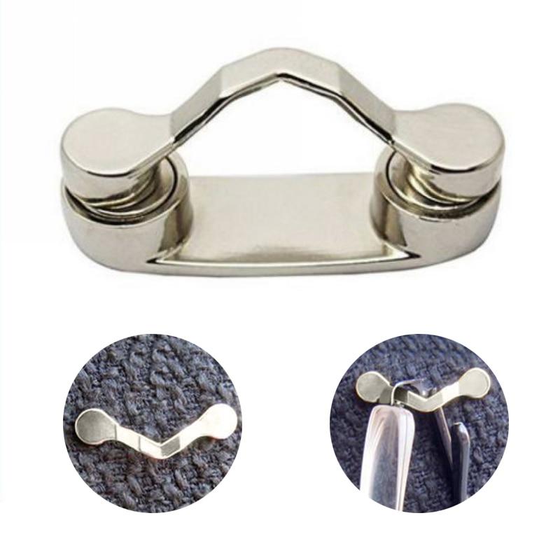 Mayitr 1pc Silver Zinc Alloy Magnetic Eye Glasses Holder Sunglasses Clip Hang Magnet Hook Shirt Universal For Grandparents