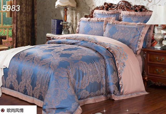 Lovely Europe Silk Bedding Sets Blue 4pcs Tencel Silk Bed Set King Size Queen  Tribute Silk Comforter