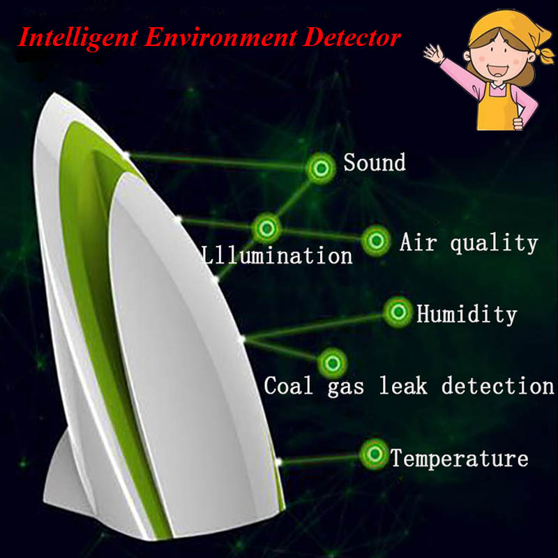 1pc Intelligent Environment Detector Small Air Quality Testing Machine Air Humidity PM2.5 Automatic Home Air Purifier salter air fryer home high capacity multifunction no smoke chicken wings fries machine intelligent electric fryer