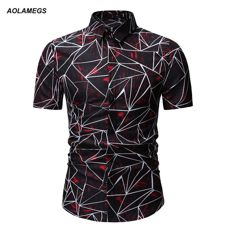 Aolamegs Männer Beiläufige Druck Kurzarm Shirt Mode Slim Fit Drehen-unten Kragen Shirts Freizeit Tops Einreiher Homme Sommer Schmerzen Haben Füsslinge