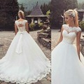 Free Shipping High End Russia Style Cap Sleeve Lace Appliques Butterfly Bow Ball Gown Wedding Dress