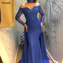 Royal Blue Chiffon Sweetheart Mermaid Evening Dresses 2019 Long Sleeves Lace Islamic Dubai Saudi Arabic Formal Gown