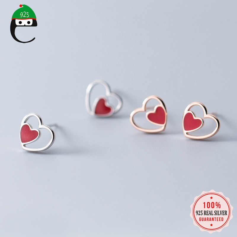 ElfoPlataSi 100% 925 Real Sterling Silver Fashion Jewelry 8mmX9mm Heart Stud Earring For Teens Best Friend Daughter Party XY1045